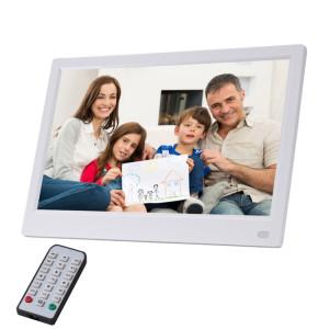 Cadre photo numérique à DEL FHD de 11,6 pouces avec support et télécommande, programme MSTAR V56, prise en charge USB / carte SD (blanche) SH070W288-20