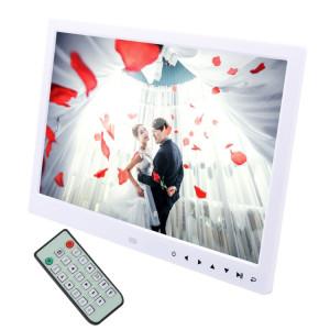 Cadre photo numérique à écran LED de 13,0 pouces avec support / télécommande, allwinner, prise en charge USB / carte SD / OTG (blanc) SH214W1199-20