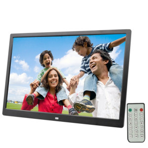 Cadre photo numérique à écran LED de 17,0 pouces avec support / télécommande, technologie Allwinner, prise en charge USB / carte SD / OTG, prise US / EU / UK (noire) SH321B1813-20
