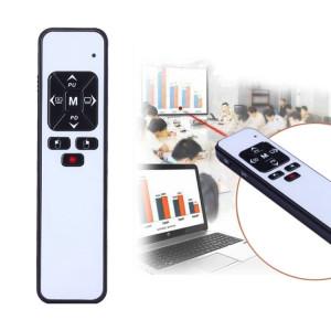 VIBOTON PP991 2.4GHz Présentation Multimédia Télécommande PowerPoint Clicker Clavier Flip avec récepteur USB, Distance de Contrôle: 25m (Blanc) SV825W1500-20