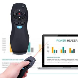 VIBOTON A3 Présentation multimédia Télécommande sans fil PowerPoint Clicker Air Mouse, distance de contrôle: 10-15m (noir) SV826B1518-20