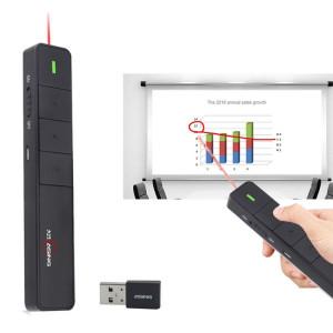 ASiNG A218 USB Charge 2.4GHz Wireless Presenter PowerPoint Clicker Représentation Pointeur de contrôle à distance, Distance de contrôle: 100m (Noir) SA081B1824-20