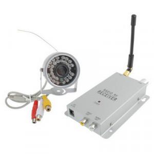 Caméra CCTV de sécurité couleur sans fil 30 LED + récepteur (argent) SH041447-20