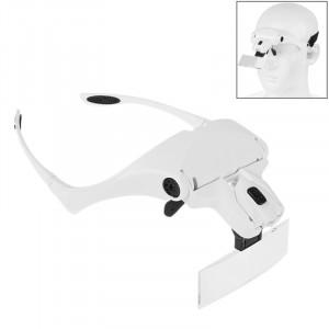 5 lentilles 1.0X-3.5X loupe lunettes support bandeau loupe avec 2 lumières LED grossissement des yeux lunettes loupe outil de grossissement (blanc) SH445W587-20