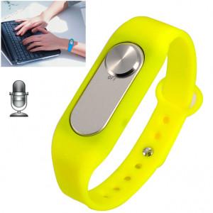 Montre-bracelet portative de l'enregistreur vocal numérique du bracelet 4GB, un long enregistrement de bouton (jaune) SH760Y744-20