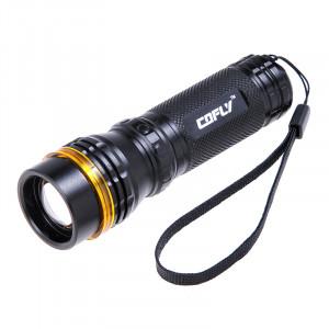 Lampe torche zoom COFLY KX-F398 250LM, LED Cree XR-E Q5, 3 modes, lumière blanche neutre (noir + or) SH80421161-20