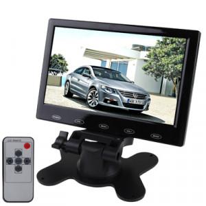Moniteur LCD avec rétroviseur pour voiture à bouton tactile de 7,0 pouces avec support, télécommande complète (noir) SH03171288-20