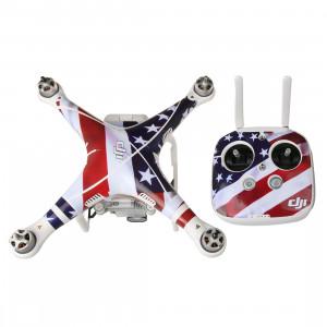 US Flag Pattern 4D imitation de fibre de carbone PVC Kit d'autocollant de résistance à l'eau pour DJI Phantom 3 Quadcopter & Remote Controller & Battery SH250B16-20