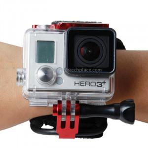 TMC Ceinture de montage pour poignet pour Gopro Hero 4 / 3+, Longueur de ceinture: 31cm, HR177 (Rouge) ST108R9-20