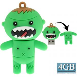 Disque Flash USB2.0 de style de bande dessinée de silicone, spécial pour tous les types de cadeaux de fête de festival, vert (4GB) SC267B616-20