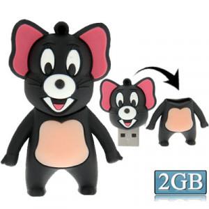 Disque Flash Silicone USB2.0 de type souris, spécial pour toutes sortes de cadeaux de fête, gris (2GB) SM273A989-20