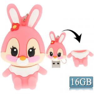 Bande dessinée style lapin Silicone USB 2.0 Flash disque, spécial pour toutes sortes de cadeaux de fête du Festival, rose (16 Go) SC283D1349-20