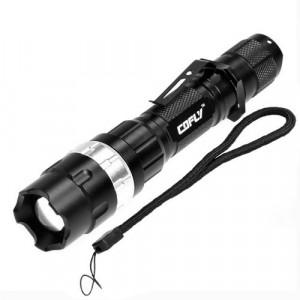 KX-H50 370LM Zoom Convexe Lampe de poche à DEL, Cree Q5 LED, 3 modes, lumière blanche, avec agrafe et sangle (argent) SH469S8-20