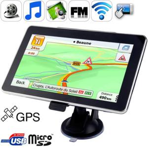 Navigateur GPS de voiture à écran tactile TFT 7,0 pouces, mémoire intégrée de 4 Go, prise en charge du port AV, stylet tactile, diffusion vocale, émetteur FM, fonction Bluetooth, haut-parleur intégré, résolutions: 800 x SH051A1719-20