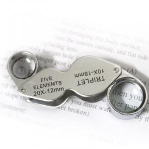10X 20X loupe de lecture de loupe de bijoux portable et rotatif à la main (MG22181) (Argent) SH00051388-20