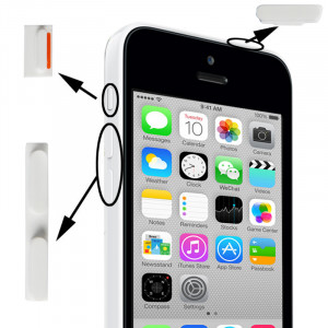 3 en 1 (bouton muet + bouton d'alimentation + bouton de volume) pour iPhone 5C, blanc S3149W310-20