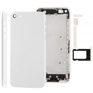 Châssis de logement complet / couvercle arrière avec plaque de montage et bouton de sourdine + bouton d'alimentation + bouton de volume + plateau de carte nano sim pour iPhone 5C (blanc) SC707W983-20