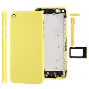 Châssis de boîtier complet / couvercle arrière avec plaque de montage et bouton de sourdine + bouton d'alimentation + bouton de volume + plateau de carte SIM nano pour iPhone 5C (jaune) SC707Y225-20