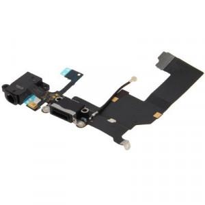 iPartsBuy Original Tail Connecteur Chargeur Câble Flex + Casque Audio Jack Câble Flex Câble pour iPhone 5 (Noir) SI724B1536-20