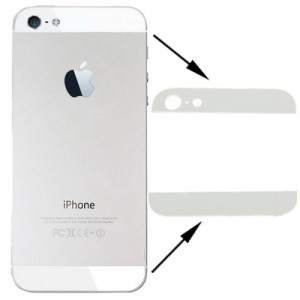 iPartsBuy Original Couverture Arrière Haut et Bas Lentille en Verre pour iPhone 5 (Blanc) SI746W1058-20