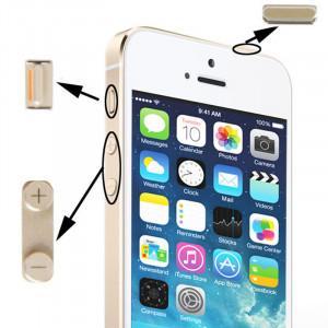 Matériau original en alliage 3 en 1 (bouton muet + bouton d'alimentation + bouton de volume) pour iPhone 5S, or SM02GD193-20
