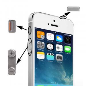 iPartsBuy 3 en 1 pour iPhone 5S (bouton de sourdine d'origine + bouton d'alimentation d'origine + bouton de volume d'origine) (Gris) SI702H1448-20