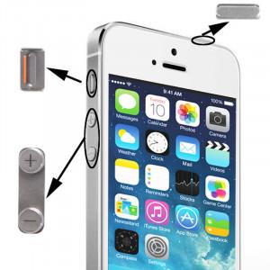 3 en 1 pour iPhone 5S (Original Mute + Original Puissance + Volume Original) Bouton Kit, Matériel En Alliage (Argent) S3702S986-20