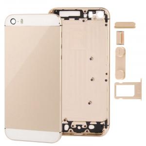 Couvercle arrière de remplacement de logement de logement complet avec le bouton muet + bouton de puissance + bouton de volume + plateau de carte de Nano SIM pour l'iPhone 5S (or léger) SC10LD1392-20