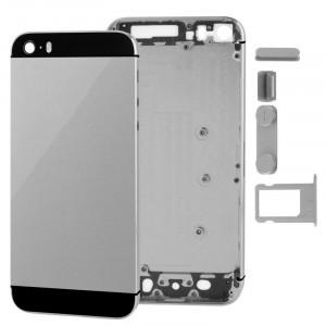 Full Housing Alloy couvercle de remplacement arrière avec bouton muet + bouton d'alimentation + bouton de volume + plateau de carte SIM nano pour iPhone 5S (gris) SF711H907-20