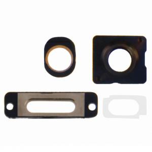 iPartsBuy 4 en 1 pour iPhone 5S (objectif externe de la caméra + anneau de la lentille de la caméra + anneau de port de charge + anneau de casque) Kit de pièces de réparation (or) SI171J1385-20