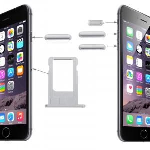 iPartsBuy Original Porte-cartes & Contrôle Du Volume Clé & Screen Lock Clé & Mute Interrupteur Clé Vibrateur Kit pour iPhone 6 (Argent) SI190S1157-20