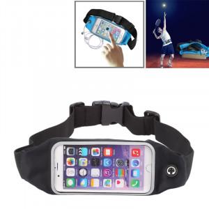 Poche imperméable à l'eau de sac de taille de sports avec le trou d'écouteur pour iPhone 6 Plus et 6s plus (noir) SW640B76-20