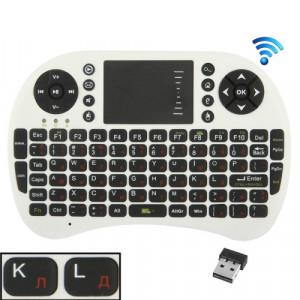 UKB-500-RF 2.4GHz Mini souris clavier sans fil avec pavé tactile et récepteur USB, clavier anglais / clavier russe (blanc) SU008W5-20