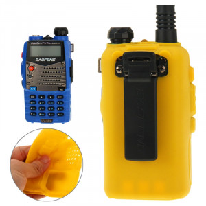 Étui en silicone Pure Color pour talkies-walkies série UV-5R (Jaune) S-20