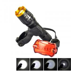 Lampe de poche à 5 modes LED LT-TJ CREE XM-L T6, mise au point réglable 2000 LM avec feu arrière et clip de montage SH0299996-20