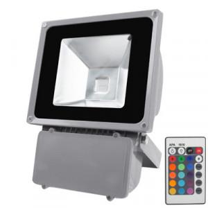 Lampe de projecteur imperméable 80W, lumière de RVB LED avec à télécommande, AC 85-265V (noir) SH1647564-20