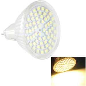 Ampoule de lampe de projecteur de MR16 4.5W LED, 60 LED 3528 SMD, lumière blanche chaude, CA 220V SH20WW1686-20