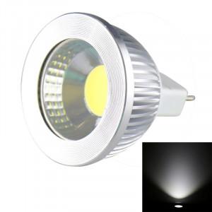 MR16 5W 475LM LED lampe de projecteur, 1 LED COB, lumière blanche, 6000-6500K, DC 10-18V, couverture argentée SH700W177-20
