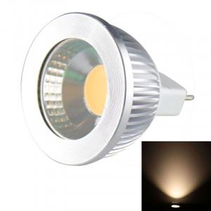 MR16 5W 475LM LED lampe de projecteur, 1 LED COB, lumière blanche chaude, 3000-3500K, DC 10-18V, couverture argentée SH00WW1289-20