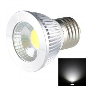 E27 5W 475LM LED lampe de projecteur, 1 LED COB, lumière blanche, 6000-6500K, AC 85-265V, couverture argentée SH720W1879-20
