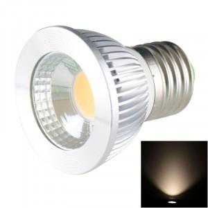 E27 5W 475LM LED lampe de projecteur, 1 LED COB, lumière blanche chaude, 3000-3500K, AC 85-265V, couverture argentée SH20WW1247-20