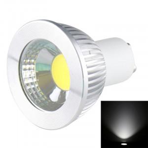 GU10 5W 475LM LED lampe de projecteur, 1 LED COB, lumière blanche, 6000-6500K, AC 85-265V, couverture argentée SH723W819-20