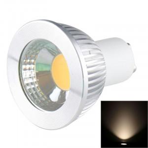 GU10 5W 475LM LED lampe de projecteur, 1 LED COB, lumière blanche, 6000-6500K, AC 85-265V, couverture argentée SH23WW37-20