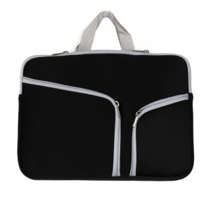 Double Pocket Zip Sac à main pour ordinateur portable pour Macbook Air 11,6 pouces (Noir) SH310B152-20