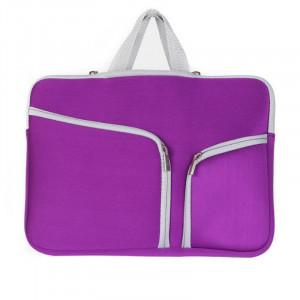 Sac d'ordinateur portable de poche de sac à main de double poche pour Macbook Air 13 pouces (violet) SH313P1671-20