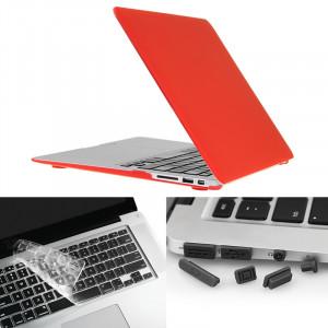 ENKAY pour Macbook Air 11,6 pouces (version US) / A1370 / A1465 Hat-Prince 3 en 1 Coque de protection en plastique dur givré avec clavier de protection et prise de poussière de port (rouge) SE580R1544-20