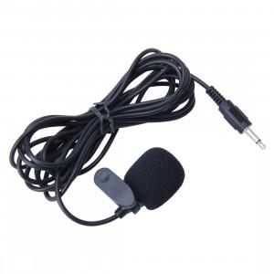 Voiture Audio Microphone 3.5mm Jack Plug Mic Stéréo Mini Filaire Clip Extérieure Microphone Lecteur pour Auto DVD Radio, Longueur de Câble: 2.1m SH-202719-20