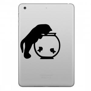 ENKAY Chapeau-Prince Chat et Fishbowl Motif Amovible Peau Décorative Autocollant pour iPad mini / 2/3/4 SE200B1065-20