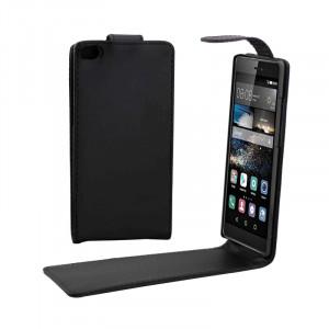 Étui en cuir avec bouton magnétique à rabat vertical pour Huawei P8 (noir) SH437B1599-20