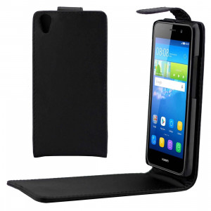 Etui en cuir PU avec boucle magnétique et rabat vertical pour Huawei Y6 (Noir) SH728B117-20